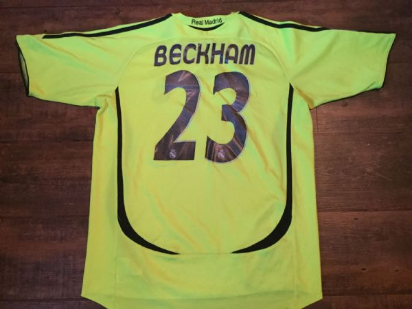 2006 2007 Real Madrid David Beckham Medium Away Football Shirt Camiseta